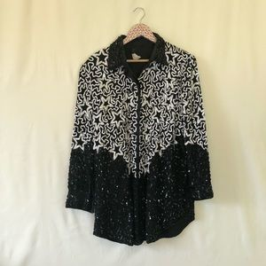 Vintage Star pattern fully sequined jacket size XL